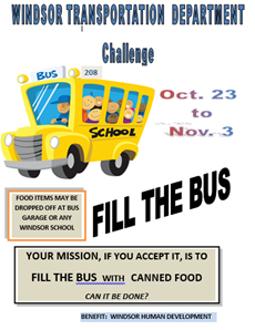 Fill the Bus poster with animated bus and dates and details of food delivery