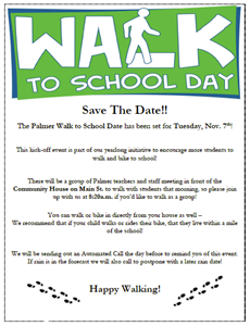 "Walk to school flyer with green banner with ""walk to school"" logo"