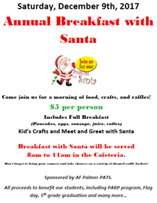 Flyer of Palmer PATS breakfast with Santa event.