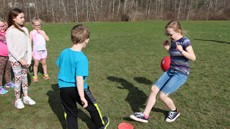 Children playing kickball