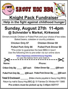 Knight Pack Saucy Hog fundraiser flyer image