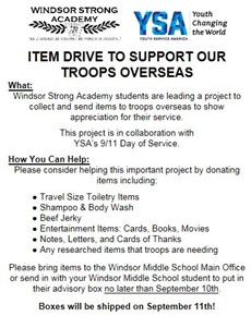 Care package flier with list of requested donation items
