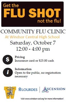 flu cllinic poster with October 7 date and payment information ($25 cash or insurance card)