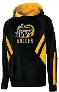 Picture of black and gold Windsor soccer hooded sweatshirt