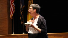 Picture of Teena Fitzroy speaking in the auditorium