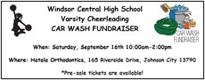 Flier for cheer fundraiser with silouhette of girl cheering and animated image of hose and bucket