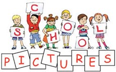 Animation of illustrated children holding up letters that spell school pictures