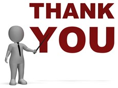 "Animated figure pointing to ""Thank You"" sign"