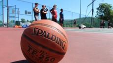Closeup of basketball on basketball court