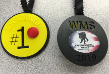 Yellow and black medals