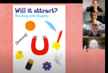 "Screen shot of ""Will it Attract?"" slide with four faces in video boxes"