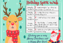 Holiday Spirit Week flyer with a reindeer and Santa