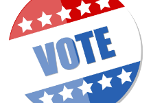 Red, white, and blue Vote button