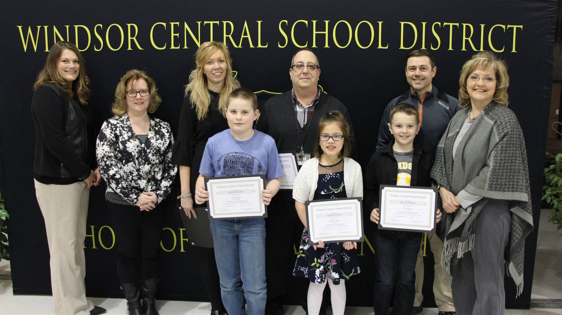 Student Council – Mike Trapani, Liz Sharkan and officers Lizzy Hopkins, Addyson Guarino, Ryan Waddel