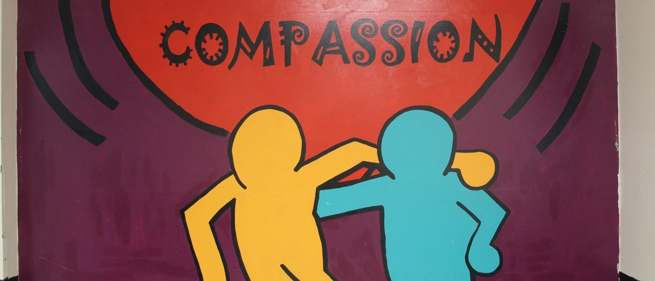 Heart-shaped compassion mural