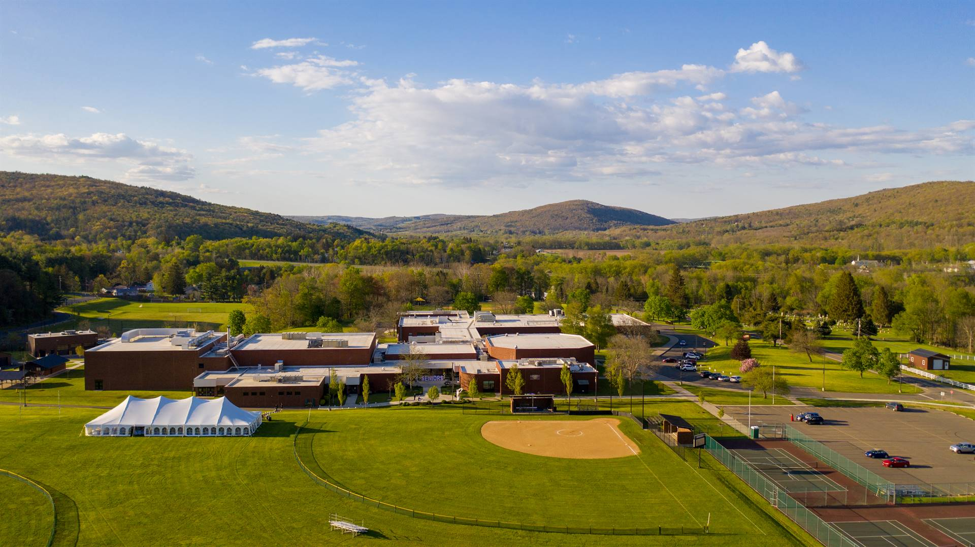 Arial view of high school and softball field