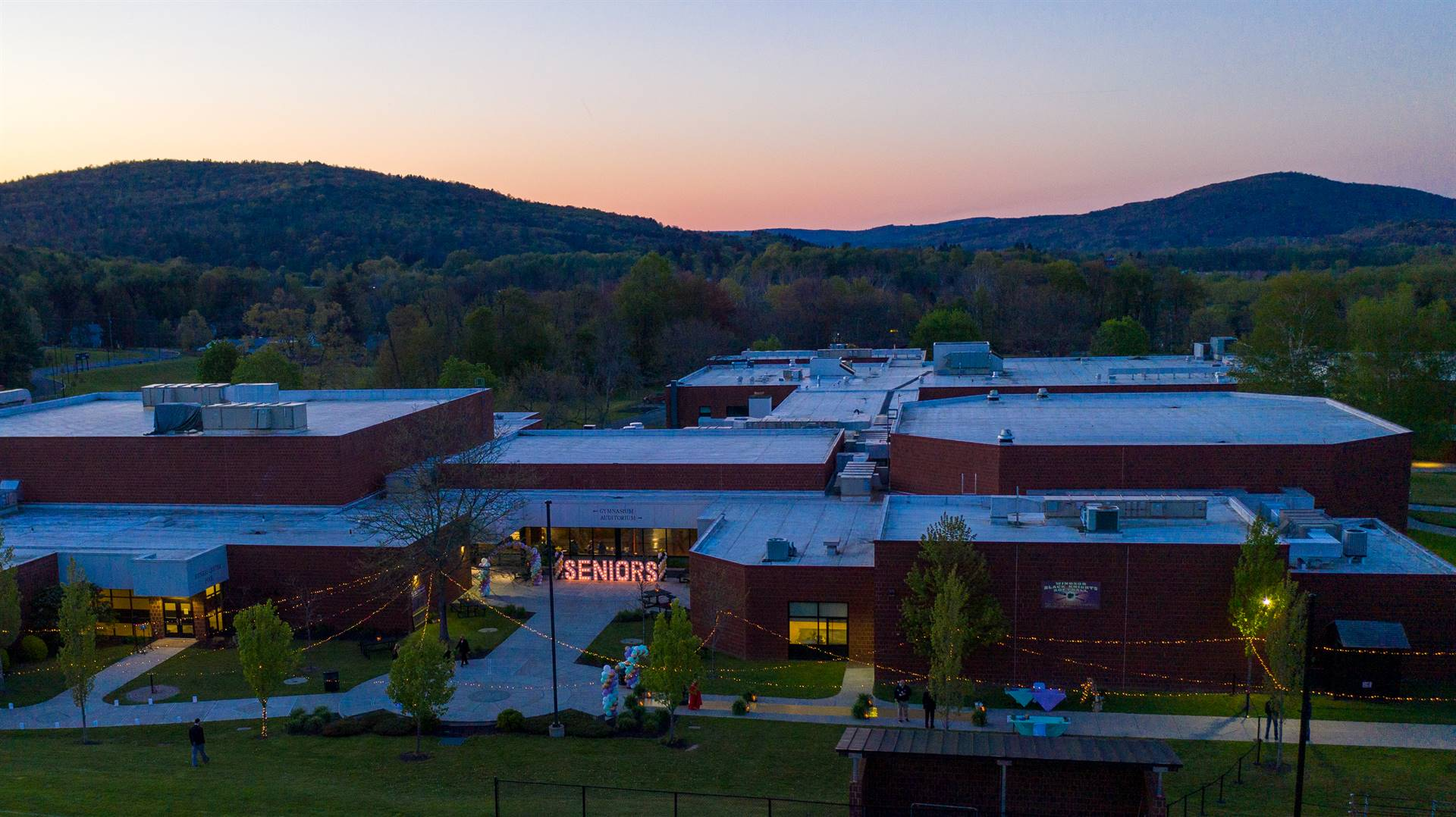 Arial view of WCHS building at sunset