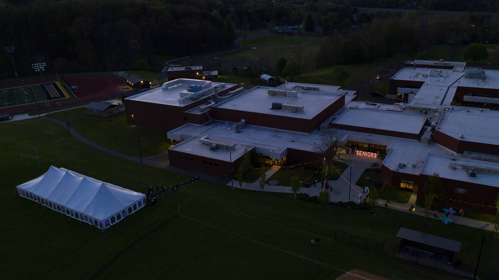 Arial view of WCHS building at dusk