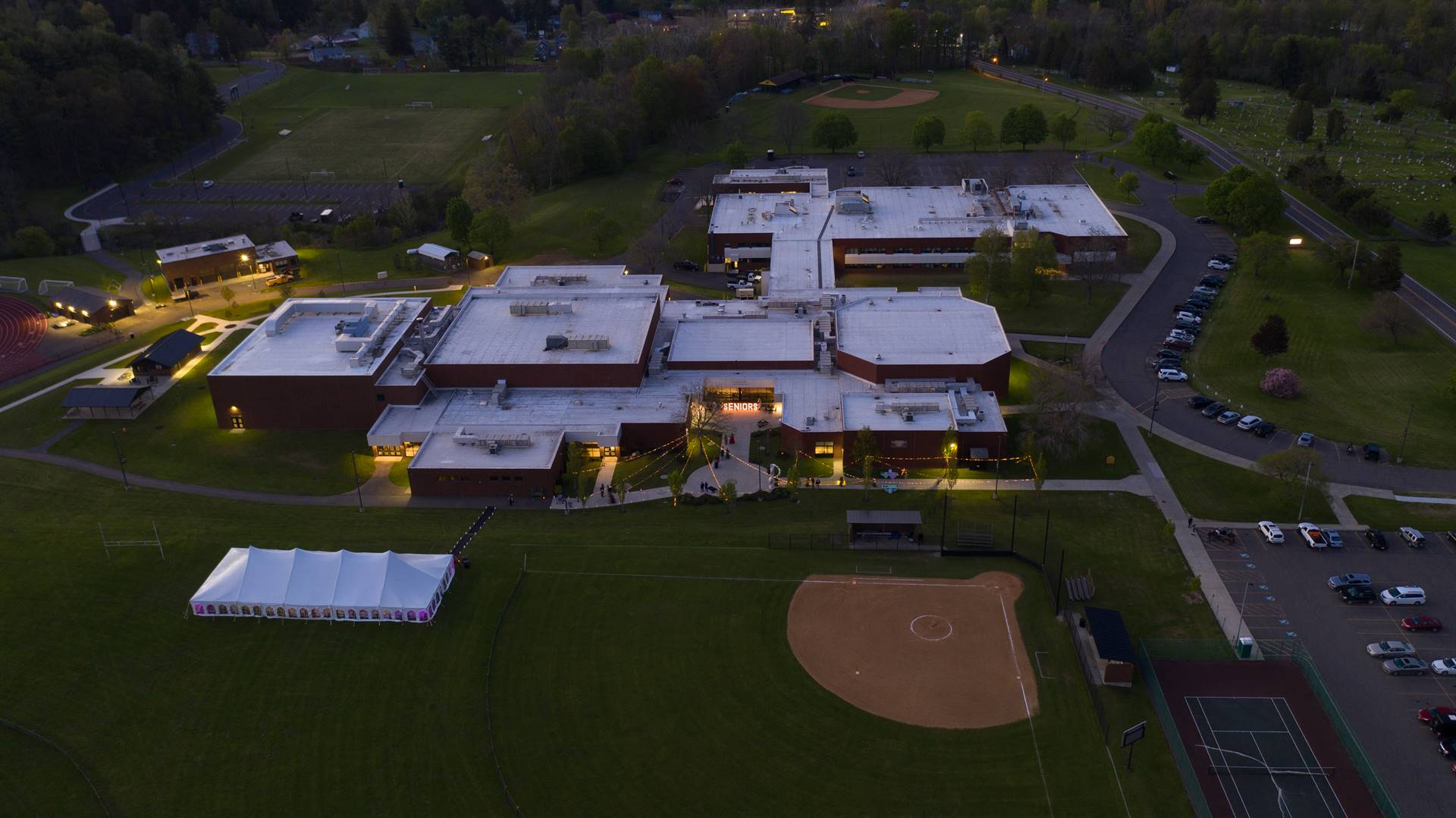 Arial view of WCHS building and tent on field