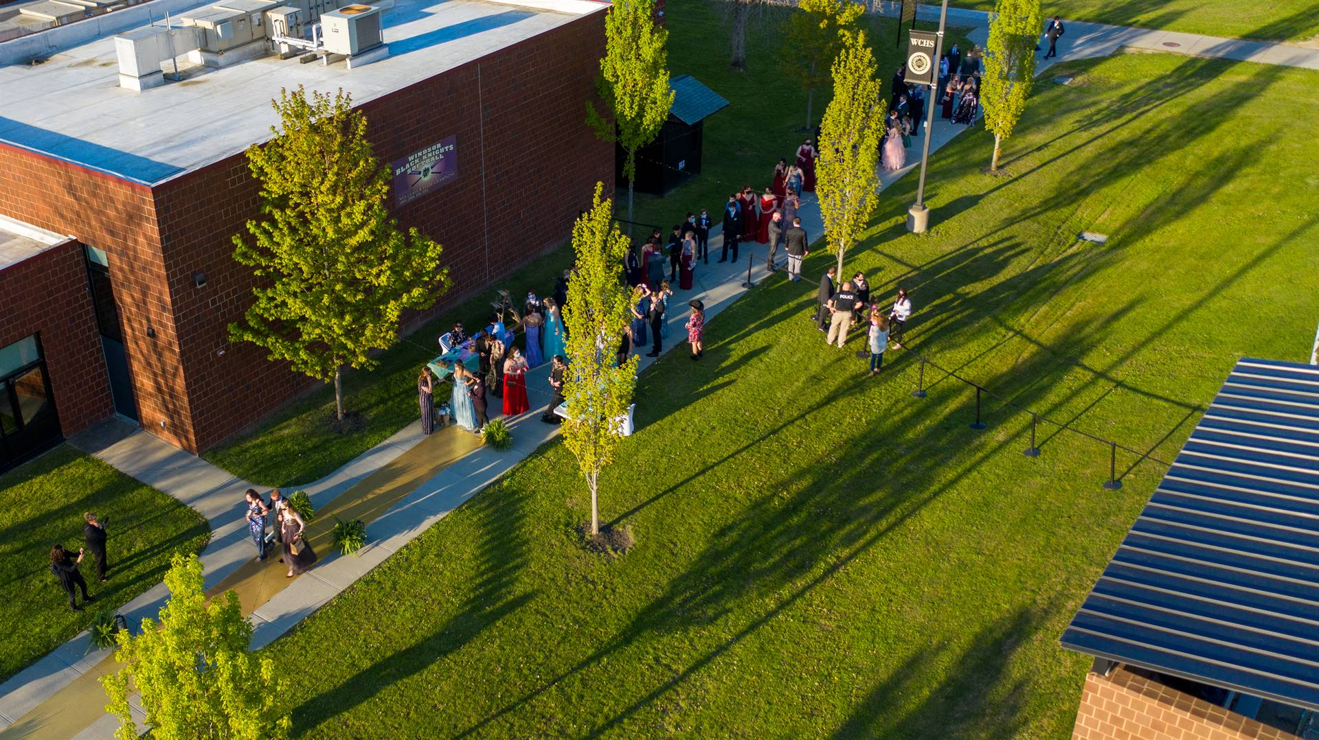 Arial view of WCHS with students