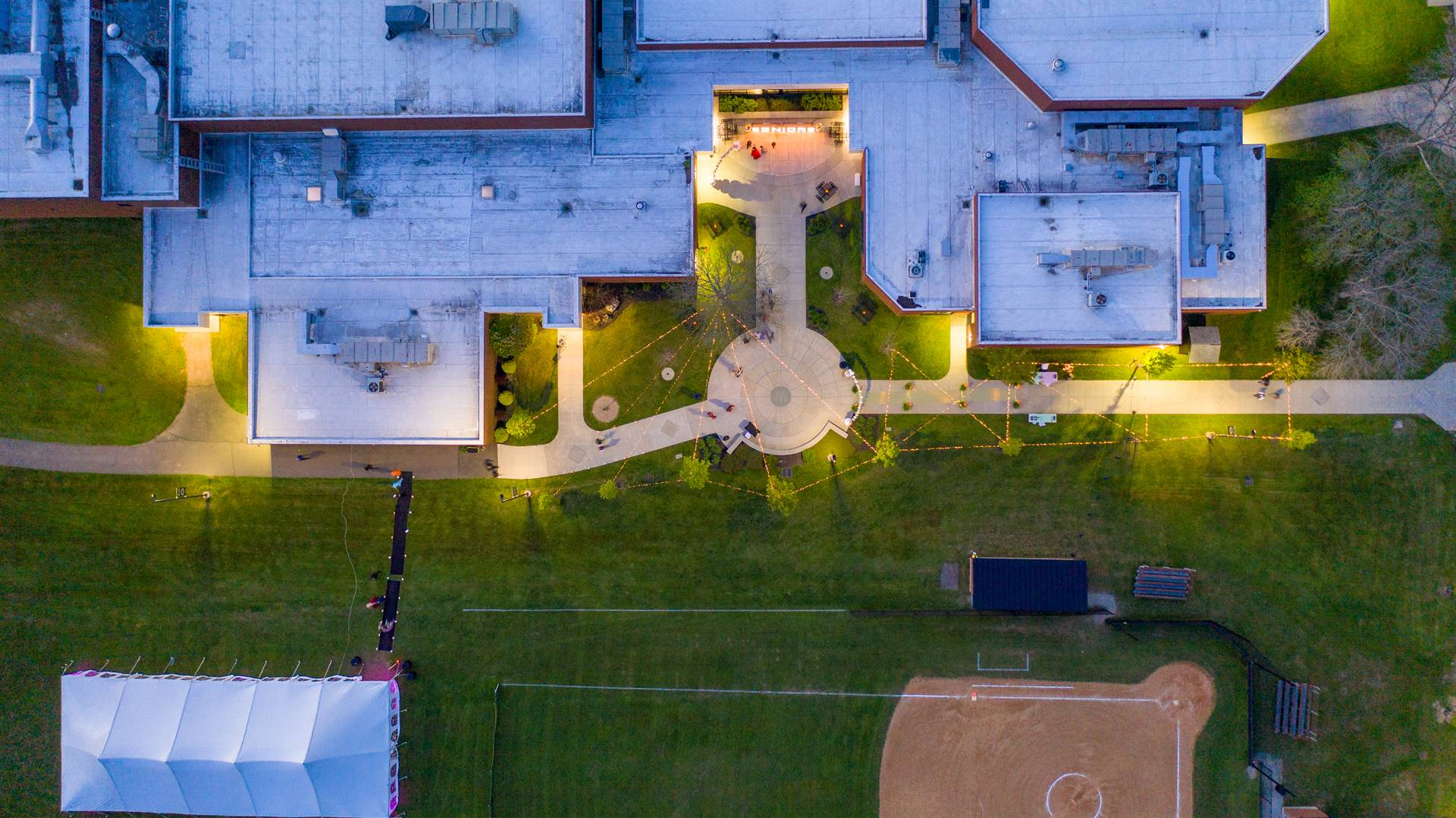 Bird's eye view of WCHS building and tent on field