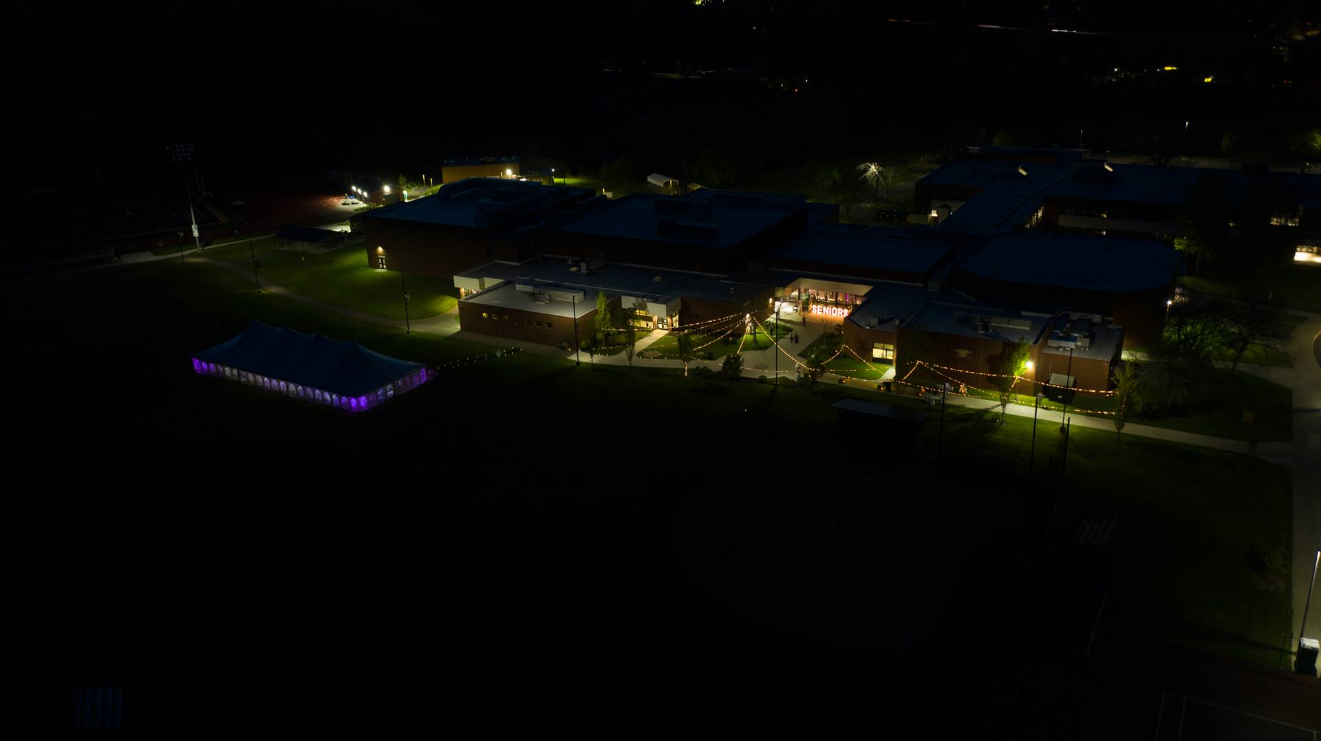 Arial view of WCHS campus at night